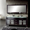 Tempered Glass Countertop Oak Wood Bathroom Double Vanity with Framed Mirror
