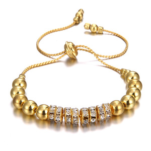 Fashionable jewelry women crystal charm beads bracelet luxury rhinestone metal beads long chain adjustable bangle for gift