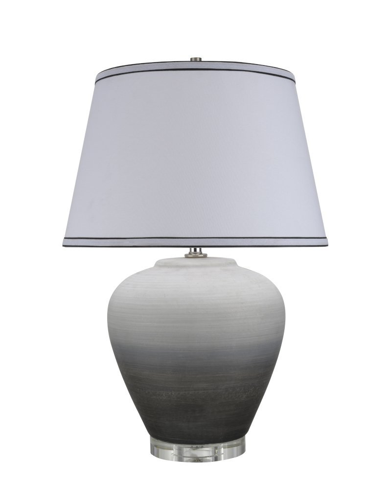 """Aspen Creative 40048, Traditional Ceramic Table Lamp, Ombre Black with Crystal Base and Empire Shaped Lamp Shade in White, 16"""" W x 24"""" H"""