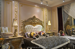 LP04-French Rococo Style Royal King Size Bed/ Fantastic Palace Porcelain Decorative Wood