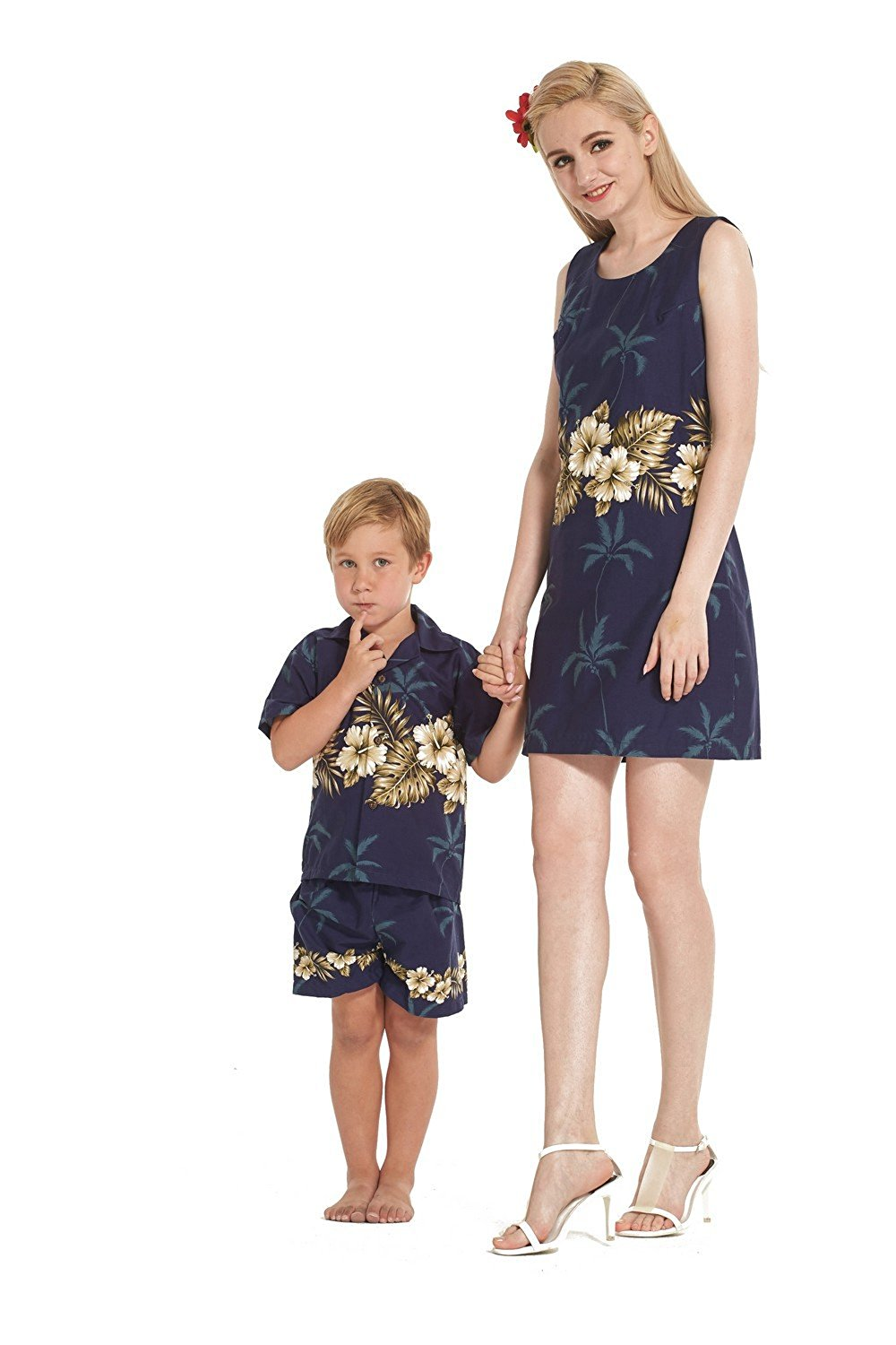 59e3d6452ca9 Get Quotations · Made in Hawaii Matching Mother Son Dress Shirt Cabana Set  in Golden Hibiscus