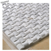 White convex marble mosaic tiles no joint