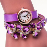 Elegant Women Girls Teenagers Flower Rhinestone Leather Quartz Bangle Bracelet Watch