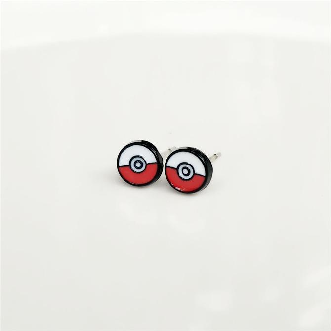 Hot Anime Pokemon Go Pokeball Stud Earring Cute Enamel Pikachu Head For Women