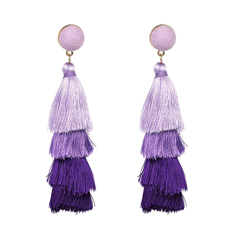 Tiered Tassel Drop Earrings, BODYA Bohemian Handmade Tiered Thread Tassel Dangles for Women Girls