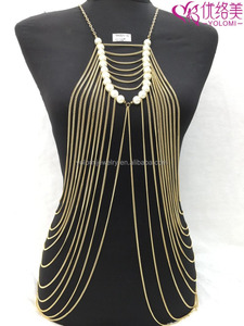 Gold Plated Body Chain Jewelry Multilayers Body Chain Dress Body Jewelry with Pearl YMBD1-10
