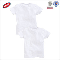 wholesales high quality summer short sleeve kids plain white cotton t-shirts with rib collar made in china
