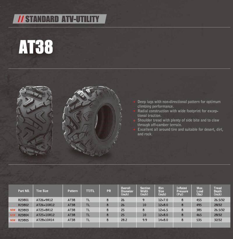 ARISUN BRAND 25X10R12 26X10R12 GOLF TYRES made in china UTV Radial ATV TIRE