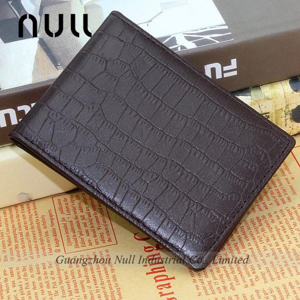 practical male style brown crocodile embossed genuine leather low price purses