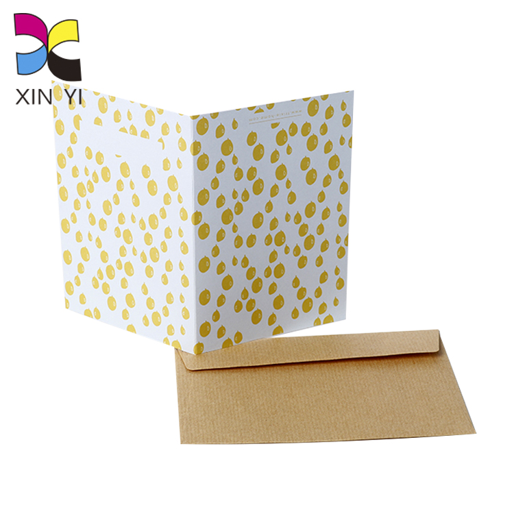 Fancy paper cheap custom printing luxury greeting card with kraft paper envelope