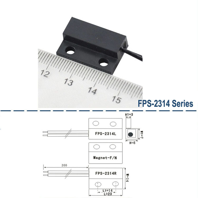 Wholesale FPS-2314 Rectangle Magnetic Reed Sensor, Electronic Magnetic Sensor Relay Module Rectangle Reed Door Contact Switch