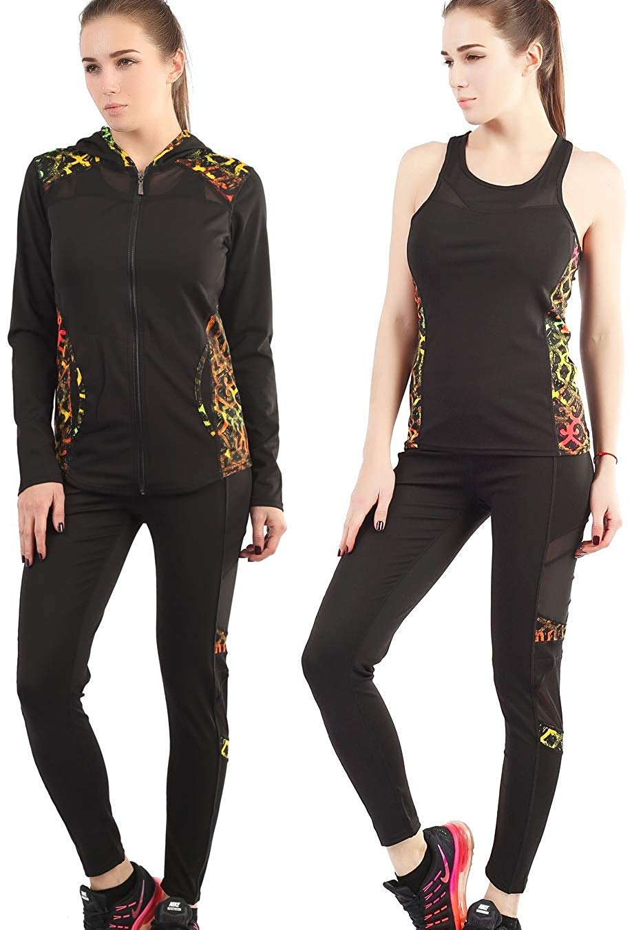 9d372f77a3f Get Quotations · Active Wear Sets For Women-Workout Clothes Tracksuit  Jacket+Top+Legging