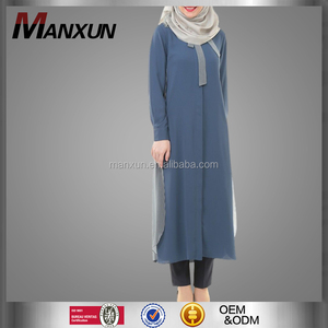2016 Unique Long Muslim Abaya Contrasting Colors Islamic Tunic Turkey Top