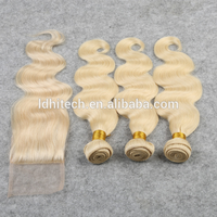 Hair China Factory Price Brazilian Human Hair 613 Color Body Wave 3 Bundles With Lace Closure