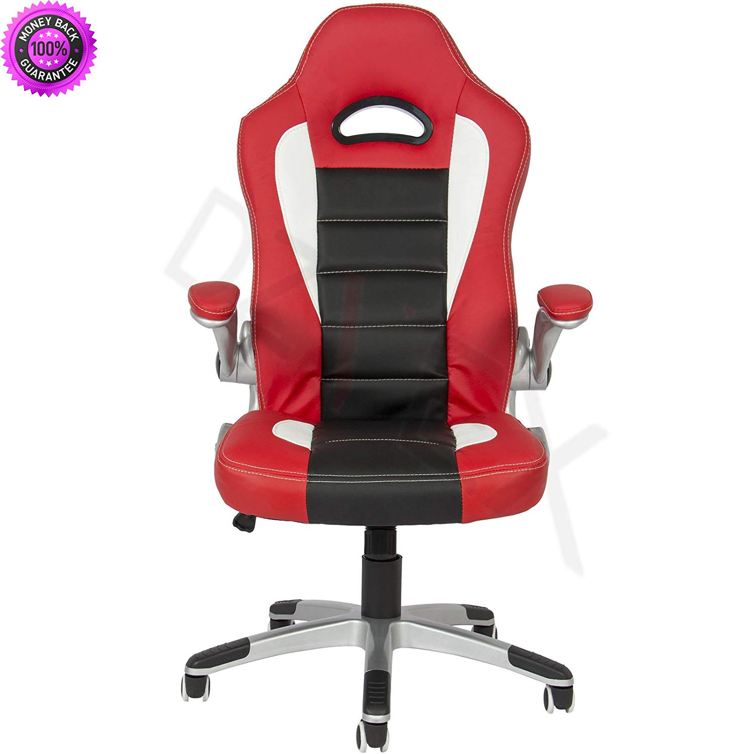 DzVeX_Executive Office Chair PU Leather Racing Style Bucket Desk Seat Chair - Red And stacking chairs waiting room chairs office furniture chair mats for carpet chairs for sale cheap office chairs