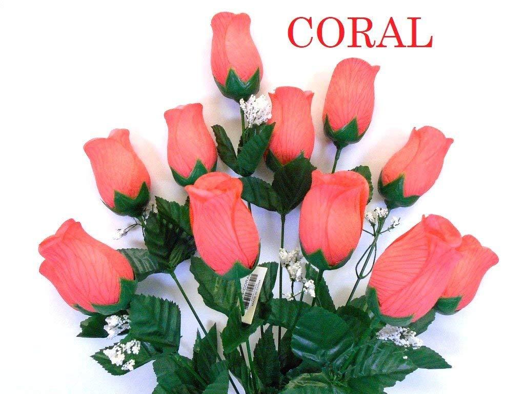 "Phoenix Silk Rose Bud Bush 12 Artificial Silk Flowers 20"" Bouquet 3974 CORAL"