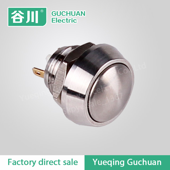 Metal nickel-plated brass solder tail waterproof momemtary push button switch GQ12B-10/J/N