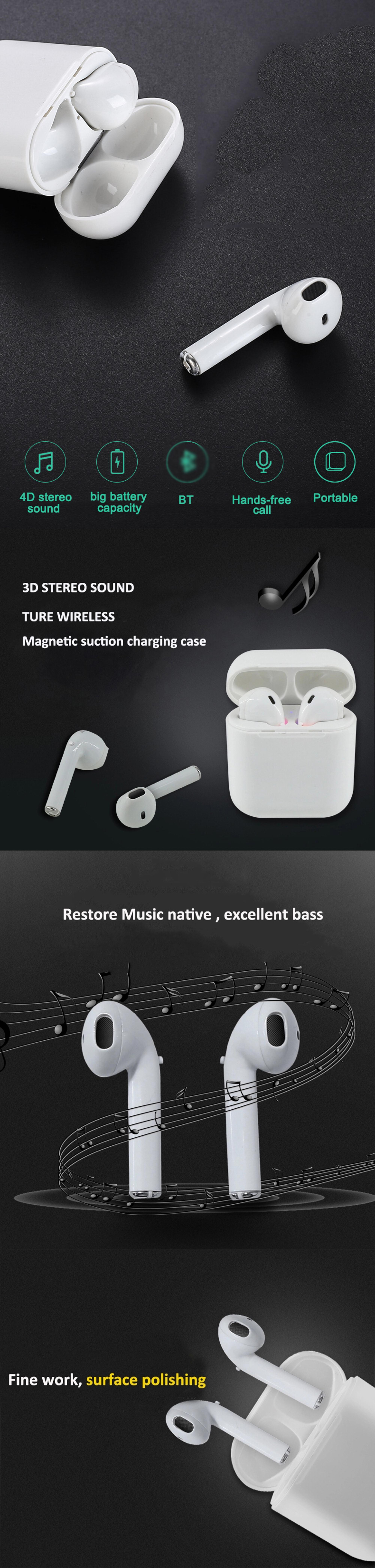 Mini Sport TWS I8 Wireless Earphone i8s Earbuds with Charger Case In Ear Used Mobile Phone