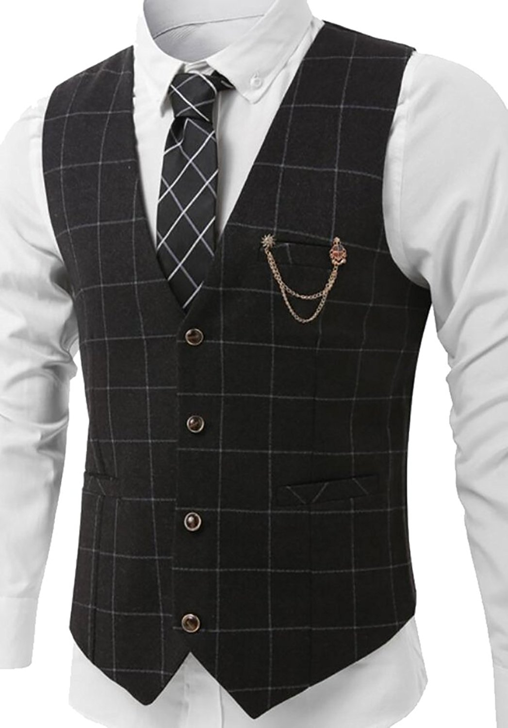 7b845eb2a8f Get Quotations · YUNY Mens Premium Plaid Checked Chain Button Front Suit  Vest Waistcoat