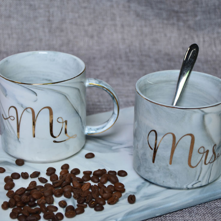 Unique Morning Milk Coffee Tea Breakfast Porcelain Marble Ceramic Mugs With Logo