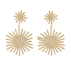 Gold Plated Earrings Personality Trendy Cubic Zirconia Jewelry Earrings For Women