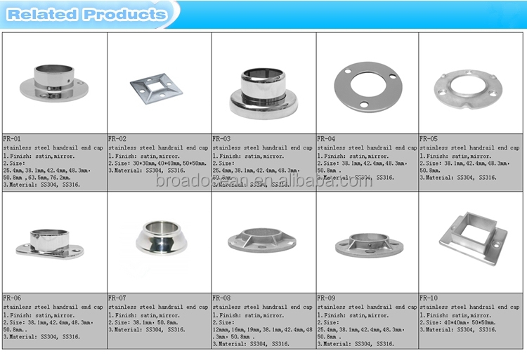 Railing stainless steel square base flange handrail floor for 1 inch square floor flange
