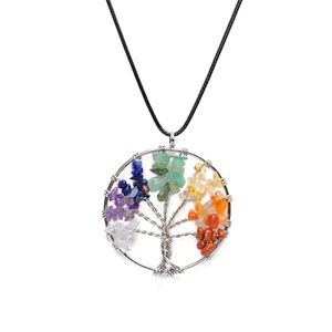 Lancui Tree of life necklace Natural stone necklace Colorful gravel pendant necklace