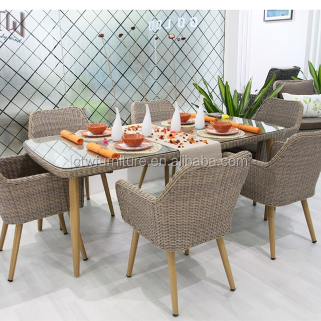 Alu Frame Pe Rattan Dining Table Chair Set Garden Outdoor Furniture