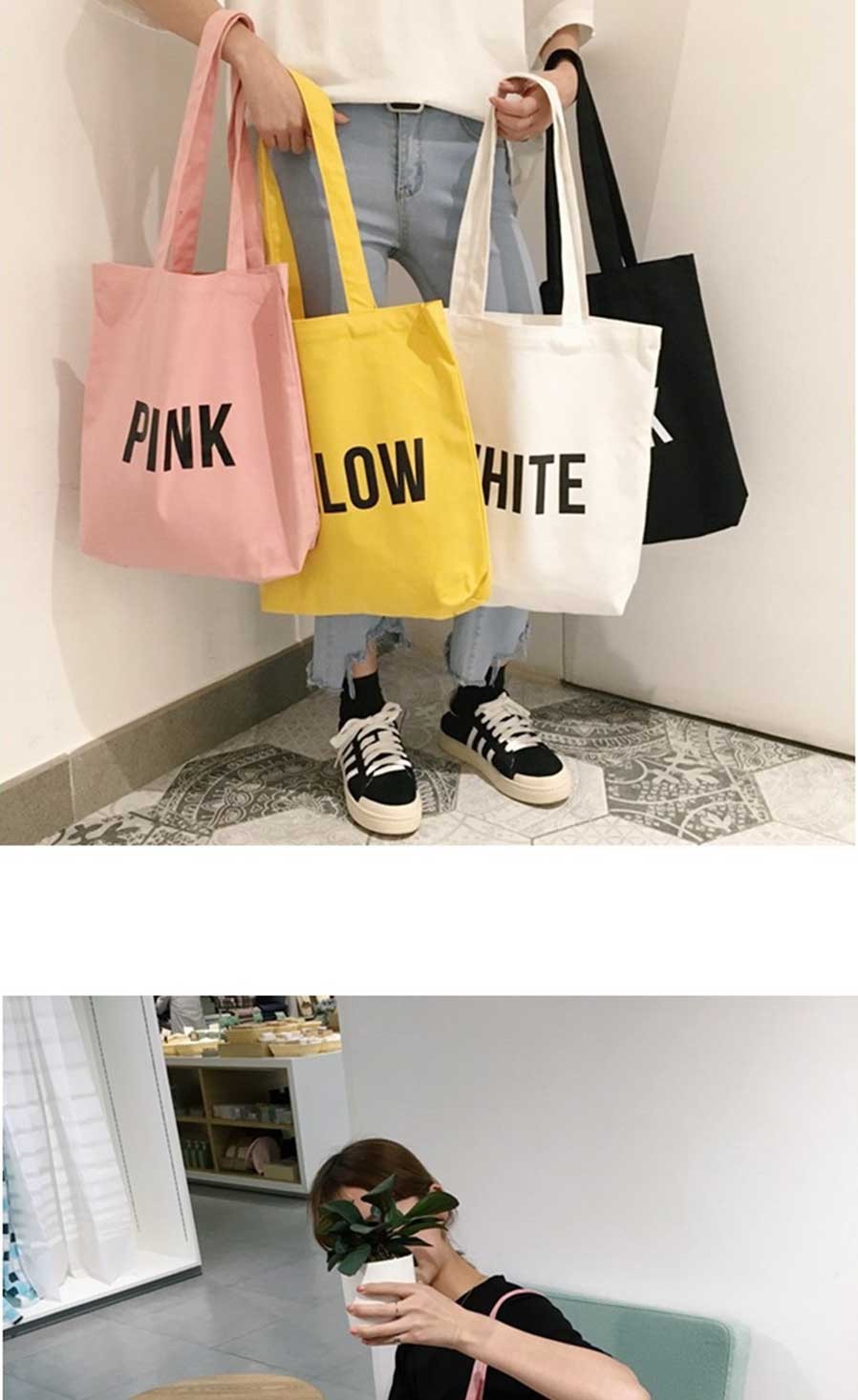 8f7a624d0e Hot Solid Color Letter Canvas Shoulder Bag Retro Original Handmade Women  Student Handbags Girls Shopping Bags Yellow