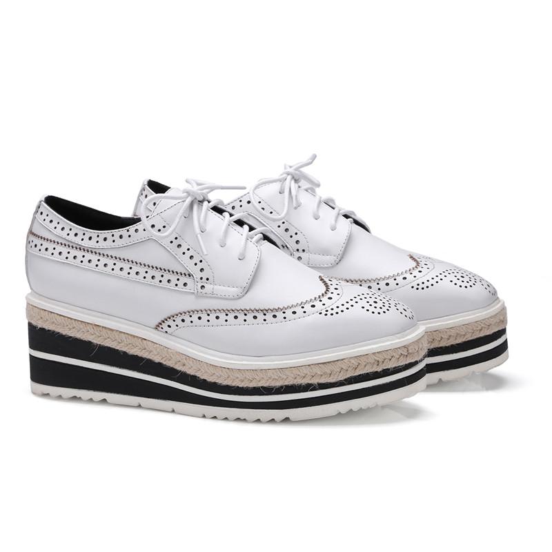 Leather Genuine Flats Women Women 2017 Lace Footwear Platform up Oxford Shoes wXq71