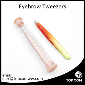 NEW Fancy Epoxy Glue Eyebrow Tweezers With Plastic Case