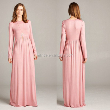 5f12f2509dba long sleeve maxi dress abaya Women O Neck Rose Elegant Casual maxi dress  long sleeve