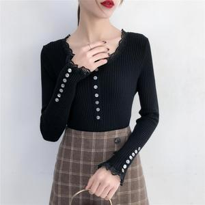 Wholesale In Stock New coming women slim sweater lace up pullover knitted sweaters
