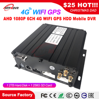 HD video 6-channel surveillance AHD 6CH 4G GPS WIFI hard drive mobile hard disk recorder excavator / coach / transport truck