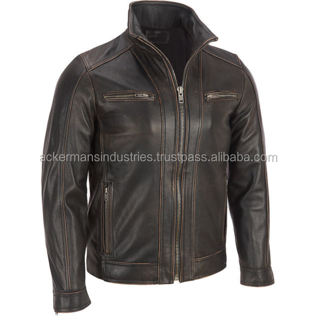 Black Distressed Mens Biker Style Leather Jacket Faded Seam