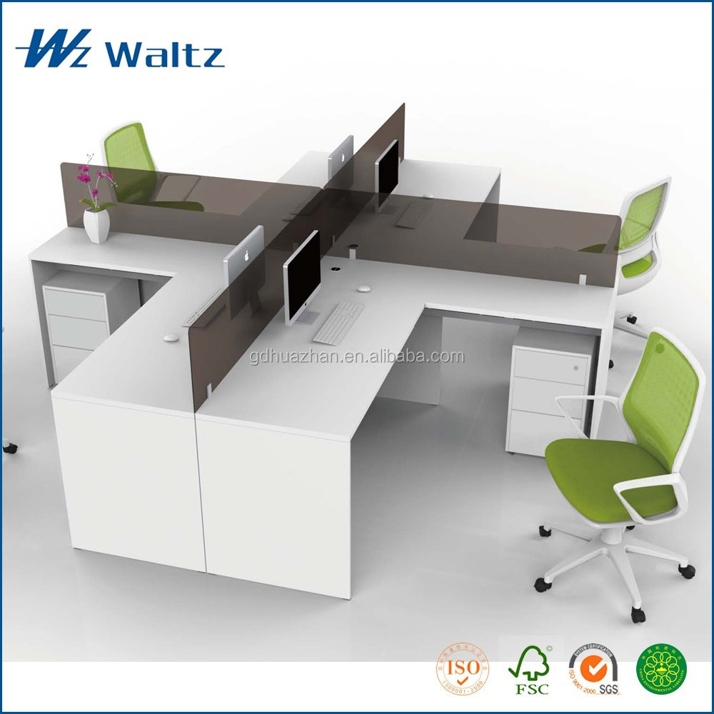 Full Melamine Panel Acrylic Parion Office Furniture Standing Desk Cross Shaped