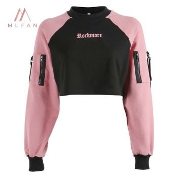 Wholesale Sexy Pink Black Patchwork Punk Long Sleeve Women Crop Hoodies