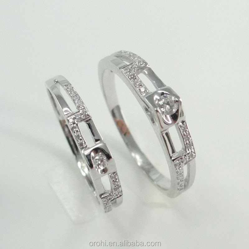Engagement Jewelry Couple Rings 18k White Gold Rings With Diamonds ...