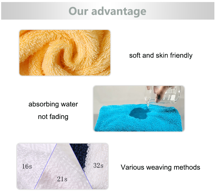 Custom water absorbing fluffy cute towel spa sauna bathroom cotton towel