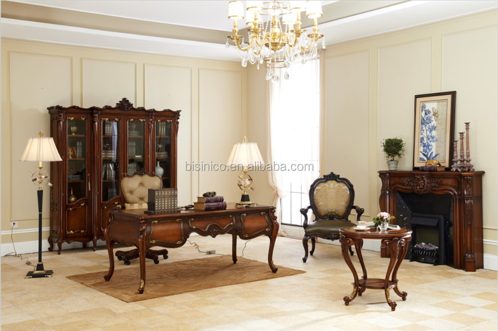 Tables En Ensemblessculpté Sculpté De À Mobilier Main Bureau La Exécutif Meubles Anciensbureau Chaise Buy Bois Baroque Luxe Style OPNkXnw80