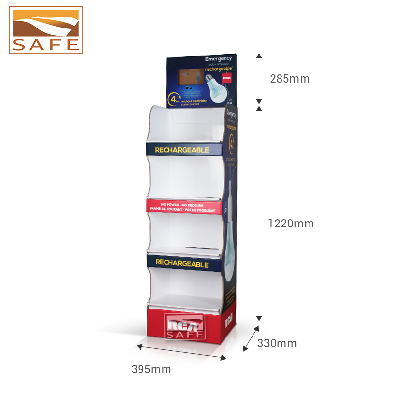 Customized color cardboard totem display for led light