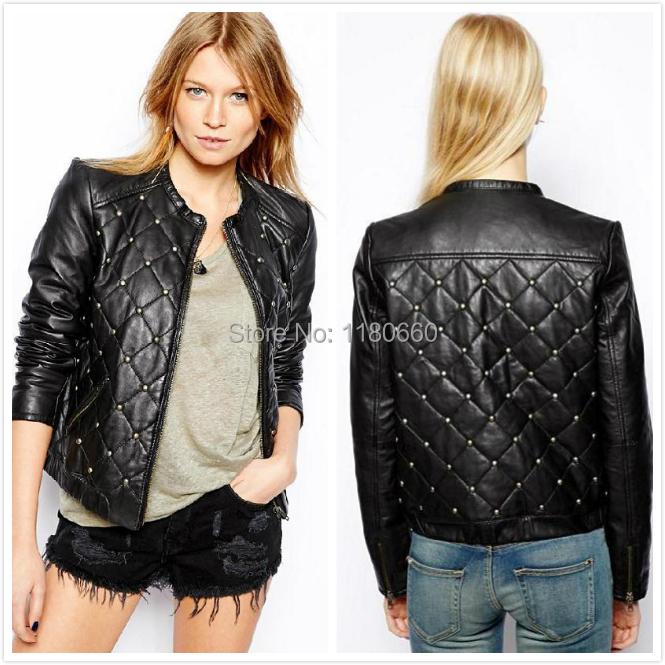 New Hot 2014 font b Winter b font Fashion Rivet Mosaic Leather Jacket Women Coat Slim