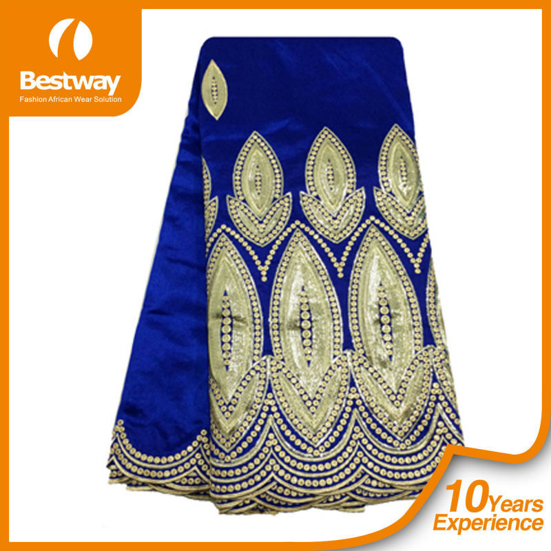India Embroidery George Wrappers Royal Blue Raw Silk George ...