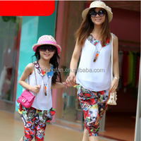 summer Mother and daughter family clothing fitted,fashion children clothes