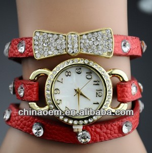 New Arrival wrap Around Bracelet Watch,Bowknot Crystal leather chain women's Quartz Rhinestone wrist watches