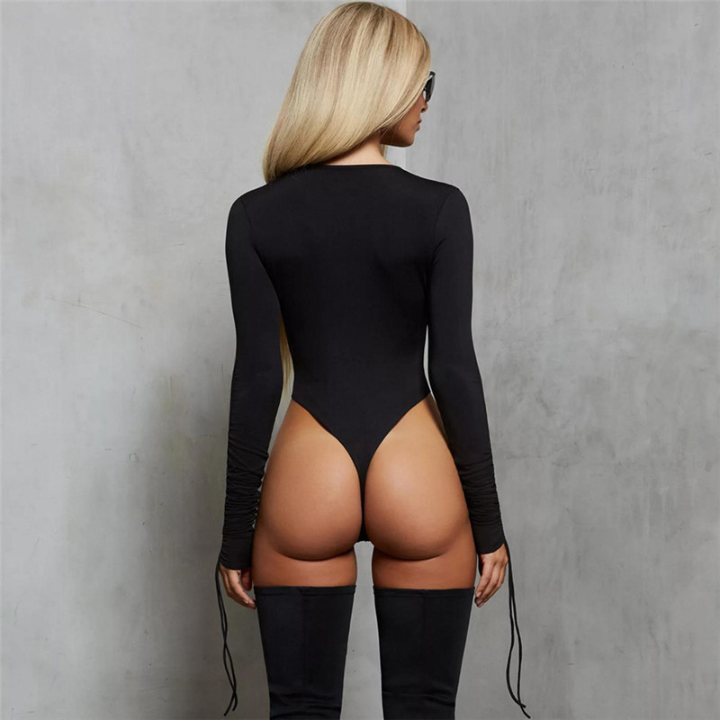 Women Sexy Long Adjustment Sleeve High Cut Bodysuit Candy Color Bodycon Jumpsuit Leotard Top