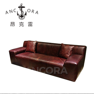 Classic Living Room Low Back Chesterfield Leather Sofa with Wood A157