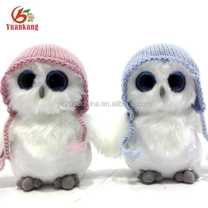 Custom Wholesale Stuffed Animal Cute Mini Pink Big Eyes Black Owl
