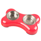 Bone Shaped Custom Stainless Twins Dog Melamine Feeder