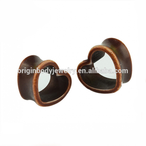 ZhiRen Wholesale vintage heart shape hollow ear tunnel, hollow ear plug, hollow body piercing